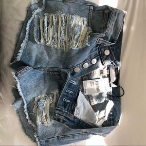 MINKPINK Shorts - High waisted ripped jean shorts tags still on